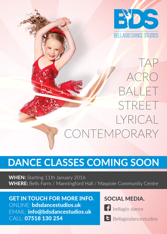 Flyers for the launch of BDS Dance Studios